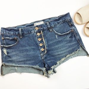 Free People Button Fly Cutoff Frayed Distressed 27